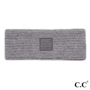 c.c Gray Solid ribbed knit headwrap